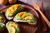 Bread with Avocado and Peach