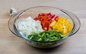 A Variety Of Chopped Peppers In A Bowl