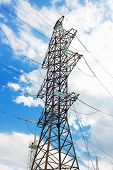 stock photo of power transmission lines  - Power Transmission Line in outdoor land view - JPG