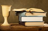 picture of chalice  - chalice of wine with bible and books - JPG