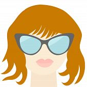foto of red-necked  - Fashion red woman face with sexy nude lips sunglasses long neck Flat design Vector illustration - JPG