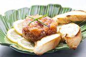 image of tartar  - salmon tartar with red onion - JPG