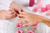 ������, ������: Manicure In The Spa Salon Drawing Of Red Nail Polish Spa Manicure Nail Care Girl Does A Manicure