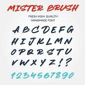 stock photo of letter  - Retro vector type font alphabet handwritten with brush marker pen lettering - JPG