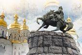picture of hetman  - Bogdan Khmelnitsky monument with golden dome Kyiv Pechersk Lavra church on background collage - JPG