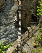 foto of suspenders  - Suspended bridge over the Ausable river in Keeseville Upstate New York - JPG