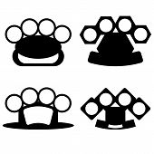 picture of brass knuckles  - Brass Knuckle Silhouettes Isolated on White Background - JPG