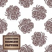 stock photo of carnation  - Seamless pattern with bouquet of carnations and cardboard label - JPG