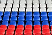 foto of grandstand  - Empty grandstand with Seating in the colors of the Russian flag - JPG