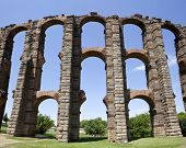 picture of aqueduct  - Vertical panoramic view of Roman Aqueduct Los Milagros Merida Spain - JPG