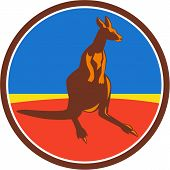 stock photo of wallabies  - Illustration of a kangaroo wallaby joey looking to the side viewed from front set inside circle done in retro style - JPG