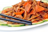 foto of chinese parsley  - delicious chinese food on plate close up - JPG