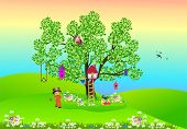 image of elf  - composition of tree on which they live elves and birds - JPG