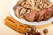 picture of deer meat  - venison deer game filet tenderloin and fresh wild mushrooms - JPG