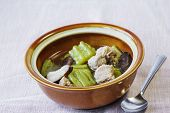 image of gourds  - Bitter gourd soup with sparerib and mushroom in a bowl - JPG