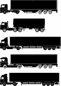 stock photo of semi-truck  - Vector detailed trucks silhouettes set isolated on white - JPG