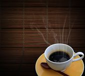 Hot Coffee On Bamboo Mat