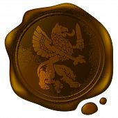 picture of wax seal  - mythical beast griffin picture on the old wax seal - JPG