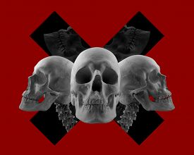 pic of skull cross bones  - Three skulls composition on red color background with black crossed sign - JPG