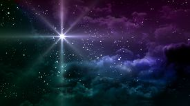 stock photo of magi  - colorful starry night with star planet it is representing the chrismas theme - JPG