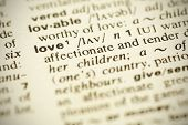 "foto of pronunciation  - Dictionary definition of the word ""LOVE"" in English. Shallow DOF.