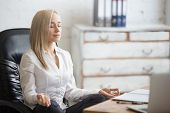 Business Woman Resting In Yoga Pose poster