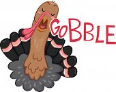 Illustration of a Turkey Gobbling poster