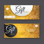Постер, плакат: Gift Voucher Template With Gold Pattern Gift Certificate Background Design Gift Coupon Voucher C