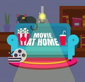 Cool Vector movie At Home Flat Design Illustration. Trendy Concept Design On Home Movie Watching E poster