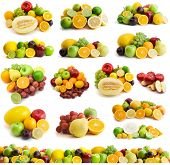 picture of pamelo  - large page of fresh fruits isolated on the white - JPG