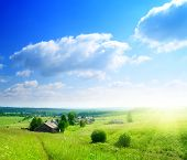 perfecte zomerdag in Russische dorp