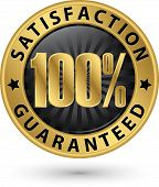 100 Percent Customer Satisfaction Guaranteed Golden Sign With Ribbon, Vector Illustration poster