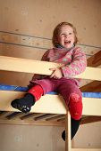 stock photo of bunk-bed  - happy child in child - JPG