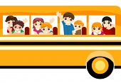 Children on School bus - Vector