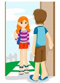 Girl visiting friend - Vector