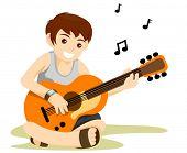 Playing Guitar - Vector