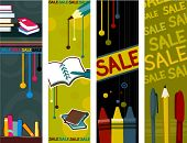 School Supplies Vertical Banners - Vector