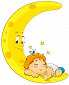 Baby Sleeping on Moon - Vector