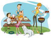 Family Outdoor Barbecue - Vector