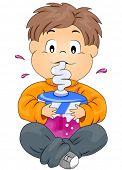 Boy sipping drink through straw - Vector