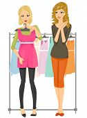 A Female Teenager Holding a Dress Against Her Body While Her Friend Checks Out How it Looks -V ector