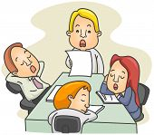 Illustration of a Employees Dozing Off While in the Middle of a Board Meeting