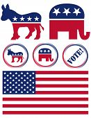 Set of United States Political Party Symbols