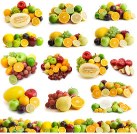 image of pamelo  - large page of fresh fruits isolated on the white - JPG
