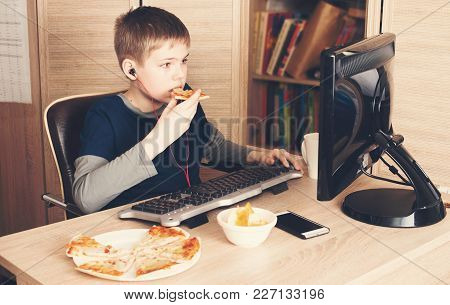 Kid Eating Pizza And Surfing