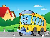 Road with school bus 2 - vector illustration.