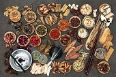 Chinese alternative medicine with herbs, acupuncture needles, moxa sticks used in moxibustion therap poster