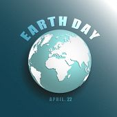 Blue Planet Earth In Space With Stars 3d Vector Illustration. Save Earth Concept. Earth Day April 22 poster