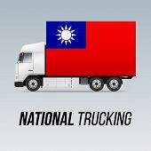 Symbol Of National Delivery Truck With Flag Of Taiwan. National Trucking Icon And Flag Design poster