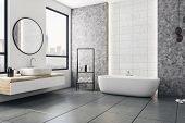 Modern Bathroom Interior With City View And Blank Poster On Wall. Design And Style Concept. Mock Up, poster